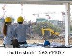engineer group and worker... | Shutterstock . vector #563544097