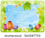 happy easter banner border.... | Shutterstock .eps vector #563587753