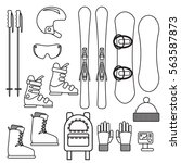 ski and snowboard gear vector...   Shutterstock .eps vector #563587873