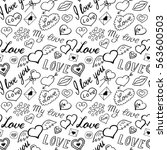 seamless pattern of hearts and... | Shutterstock .eps vector #563600503