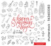 hand drawn love doodles... | Shutterstock .eps vector #563603383