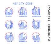 vector usa cities icon set | Shutterstock .eps vector #563609227
