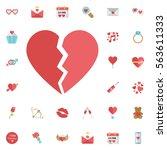 red heartbreak   broken heart... | Shutterstock .eps vector #563611333