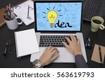 business hand typing on laptop...   Shutterstock . vector #563619793