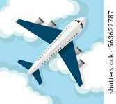 airplane flying on the clouds.... | Shutterstock .eps vector #563622787