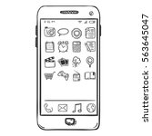 vector single sketch smartphone ... | Shutterstock .eps vector #563645047