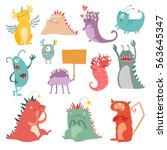 monsters vector set. kids... | Shutterstock .eps vector #563645347