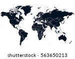 blue world map vector on white... | Shutterstock .eps vector #563650213
