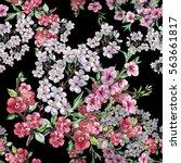 bouquet spring flowers... | Shutterstock . vector #563661817