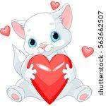 valentines kitten holds heart | Shutterstock .eps vector #563662507