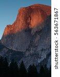 Small photo of Half Dome alpenglow, California, Yosemite National Park.