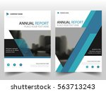 blue triangle label annual... | Shutterstock .eps vector #563713243