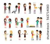 character job set flat... | Shutterstock .eps vector #563714083