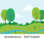 vector illustration of park... | Shutterstock .eps vector #563716603
