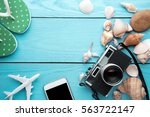 summer holiday background ... | Shutterstock . vector #563722147