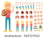 teenager female character... | Shutterstock .eps vector #563727013