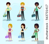 young fit blond woman and man... | Shutterstock .eps vector #563731417