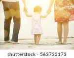 happy asian family outdoor... | Shutterstock . vector #563732173