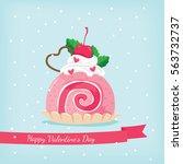 pink roll cake in happy...   Shutterstock .eps vector #563732737