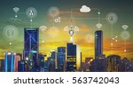 smart city with smart services... | Shutterstock . vector #563742043