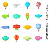 vintage balloons icons set.... | Shutterstock .eps vector #563742517