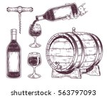 vector collection of wine icons ... | Shutterstock .eps vector #563797093