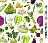 vegetables pattern of zucchini... | Shutterstock .eps vector #563803807