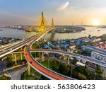 beautiful bridge and river... | Shutterstock . vector #563806423