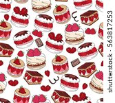 seamless pattern with sweet... | Shutterstock .eps vector #563817253