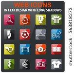 soccer icons set in flat design ... | Shutterstock .eps vector #563818273