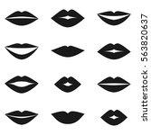 different women's lips... | Shutterstock .eps vector #563820637
