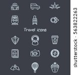 set of hand drawn travel icons... | Shutterstock .eps vector #563822263