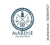 marine oceanic logo design... | Shutterstock .eps vector #563824927