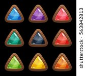 cartoon vector triangle buttons ...