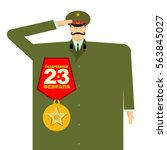 russian military with big medal.... | Shutterstock .eps vector #563845027