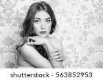 portrait of young beautiful... | Shutterstock . vector #563852953