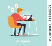 designer illustrator working in ... | Shutterstock .eps vector #563860303
