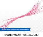 pink heart confetti glitter... | Shutterstock .eps vector #563869087