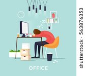 tired employee sleeping in the... | Shutterstock .eps vector #563876353