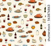 food icons set. pattern. | Shutterstock .eps vector #563876863