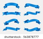 collection of blue ribbons... | Shutterstock .eps vector #563878777
