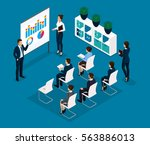 trend isometric people... | Shutterstock .eps vector #563886013