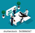 trend isometric people... | Shutterstock .eps vector #563886067