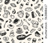 hand drawn pattern with... | Shutterstock .eps vector #563888617