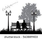 vector silhouette boy and girl... | Shutterstock .eps vector #563889403