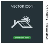 solar panel roof vector icon | Shutterstock .eps vector #563893177