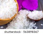 White Bath Salt In A Wooden...