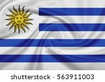 uruguay flag with fabric... | Shutterstock . vector #563911003