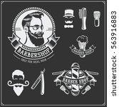 set of vintage barber shop... | Shutterstock .eps vector #563916883