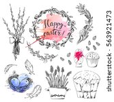 hand drawn easter set with... | Shutterstock .eps vector #563921473